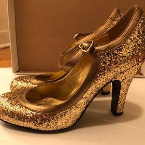 Betsey Johnson Glitter Mary Jane Heels